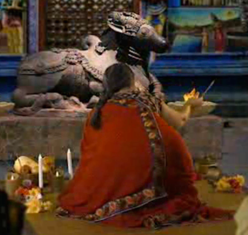 Worshiping a stone cow