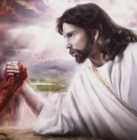 Jesus holding hand