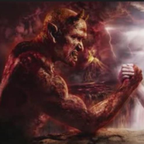 Satan holding hand